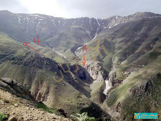 آبشار خور و یال غربی قله گندم چال در یک نگاه (منبع: گروه کوهنوردی نشاط زندگی)