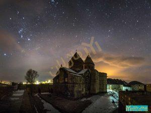 نمای شمال شرقی قره کلیسا در شب